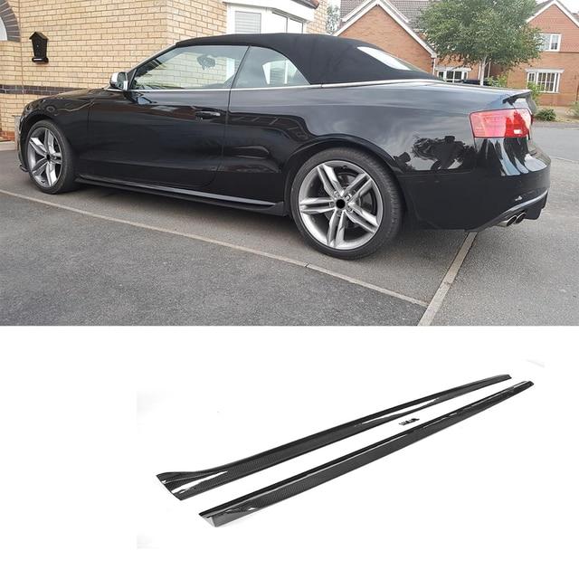 Carbon Fiber Side Skirts As Per Molding Trim For Audi A5 S5 Coupe 2 Door Convertible 08 16 2pcs Frp Black Car Accessories