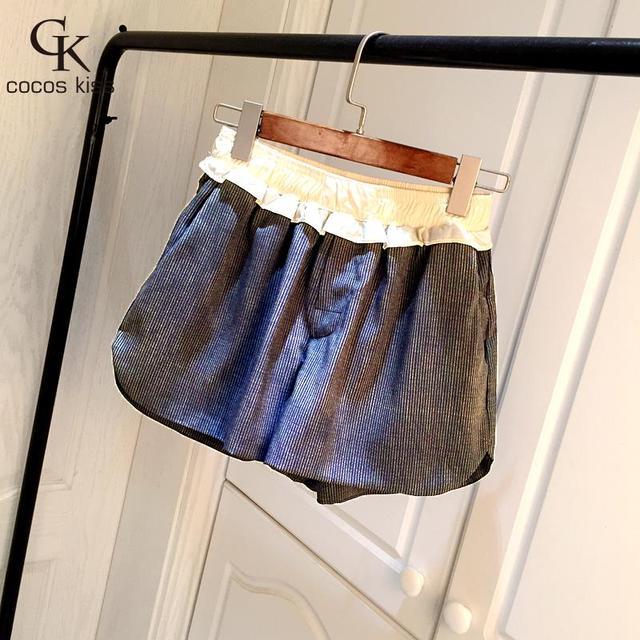 Nueva Moda 2016 Estilo Primavera Verano Pantalones Cortos de Las Mujeres Rayó Impreso Corta Cortocircuitos Delgados Pantalones Casuales pantalones cortos de cintura Elástica