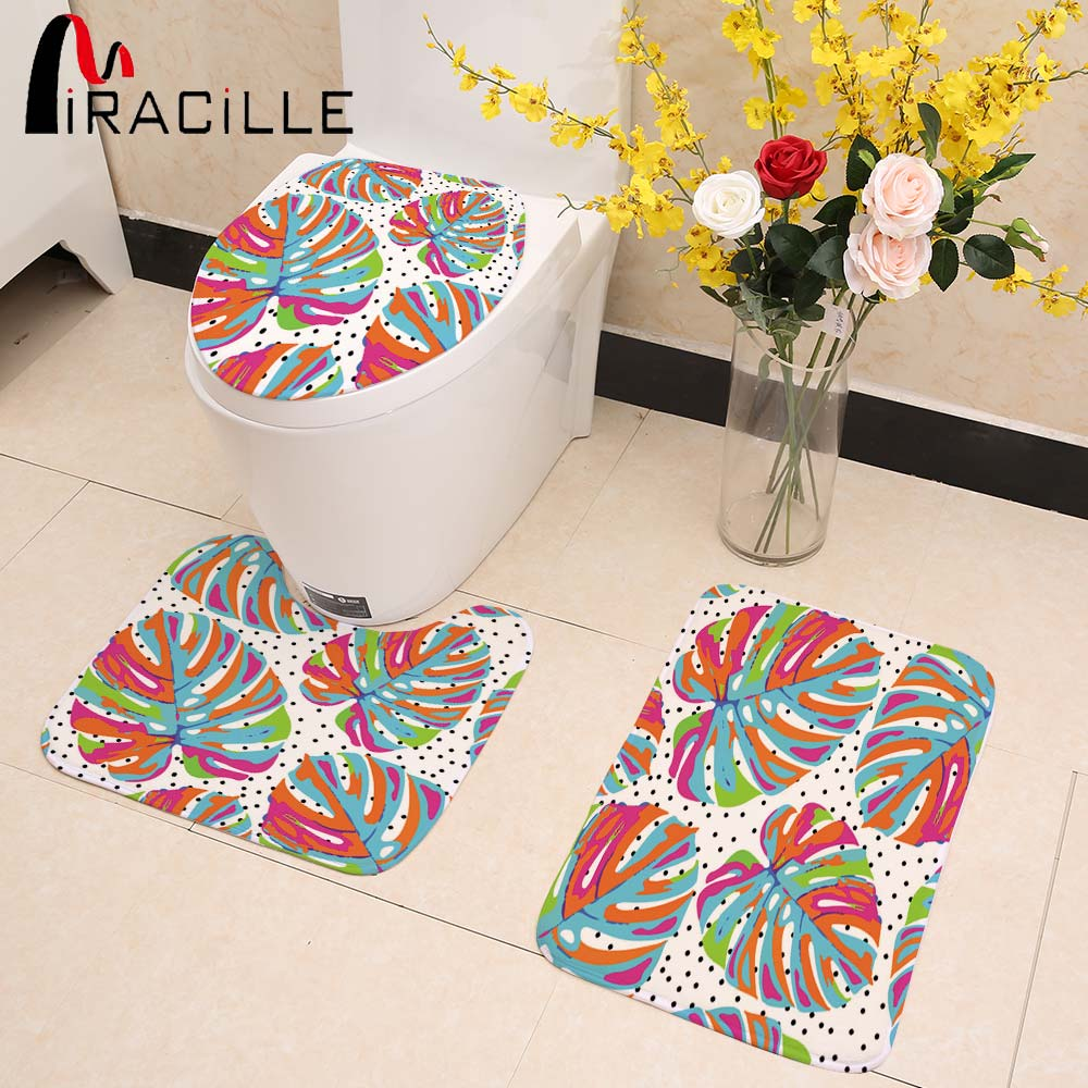 Miracille 3 PCS Bathroom Non-Slip Mat Set Tropical Plant Style Coral Velvet Toilet Seat Cover Rugs and Carpets for Living Room