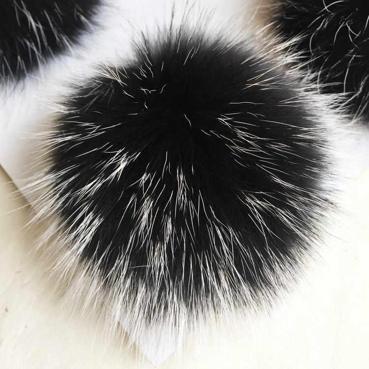 14 cm Fluffy pompons Pele Real De malha Skullies Gorros Caps Inverno Quente Bola Peluda Para Tricotar Chapéus Chave cadeia de Roupas de Presente de Natal