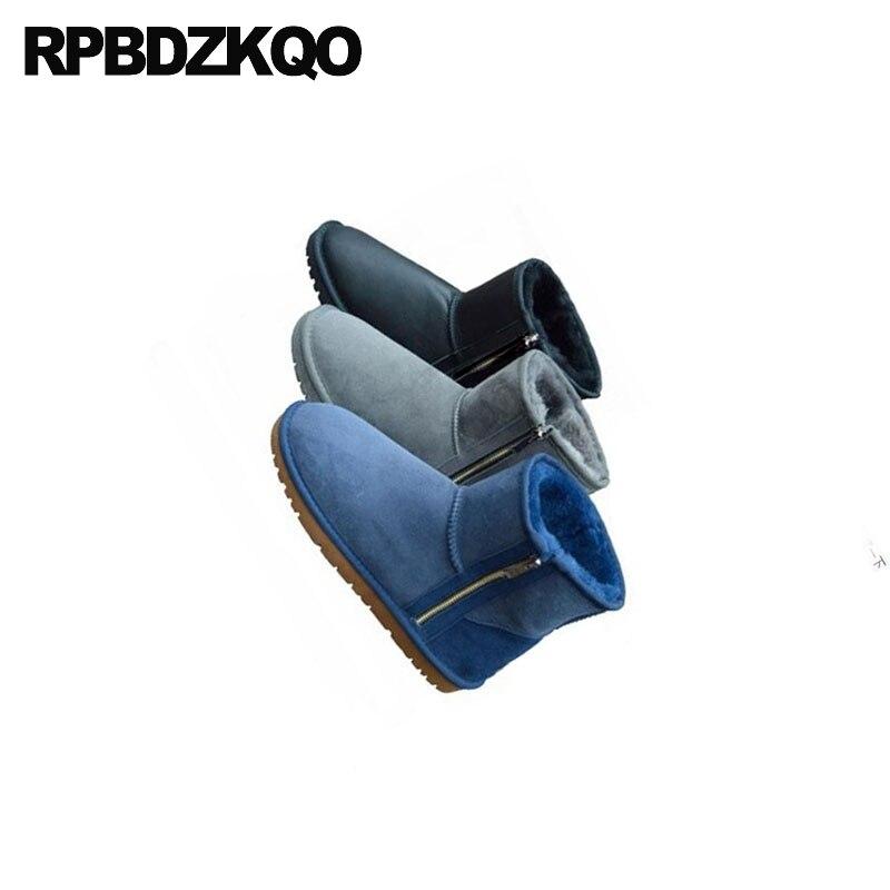 Schwarz Winter Waterproof Snowboot Runway Stiefel blau Größe Pelz black Luxus chestnut Männer coffee Plus Wildleder grau Knöchel Schuhe Schnee Schaffell Reales Wasserdichte Zipper Schwarzes Australischen naqgIra
