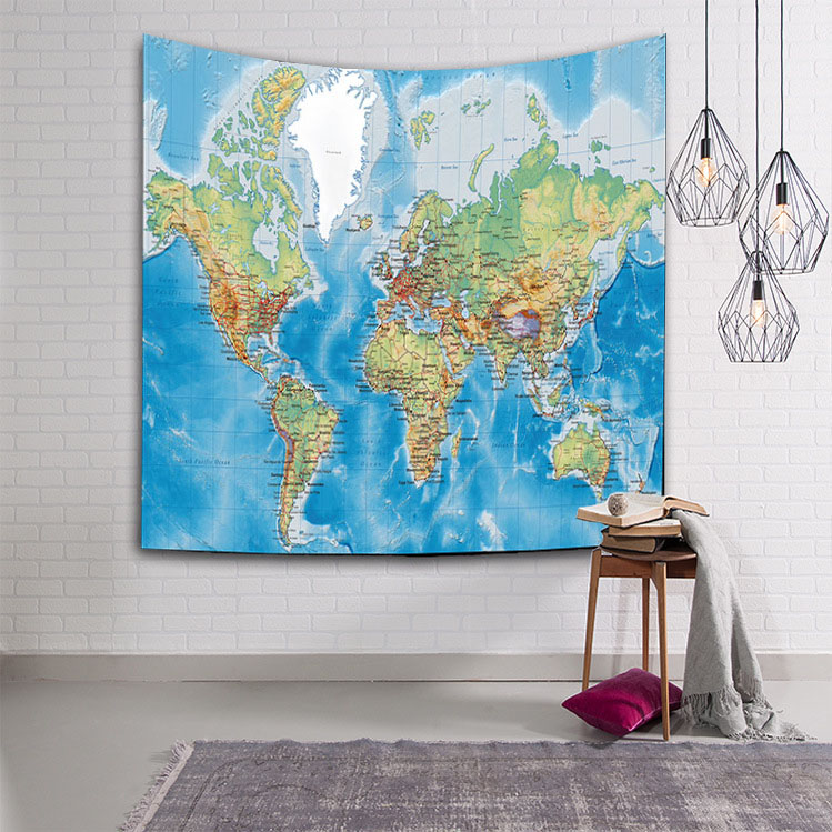 World map tapestry the pacific ocean wall hanging atlantic couches z0041 1 gumiabroncs Choice Image