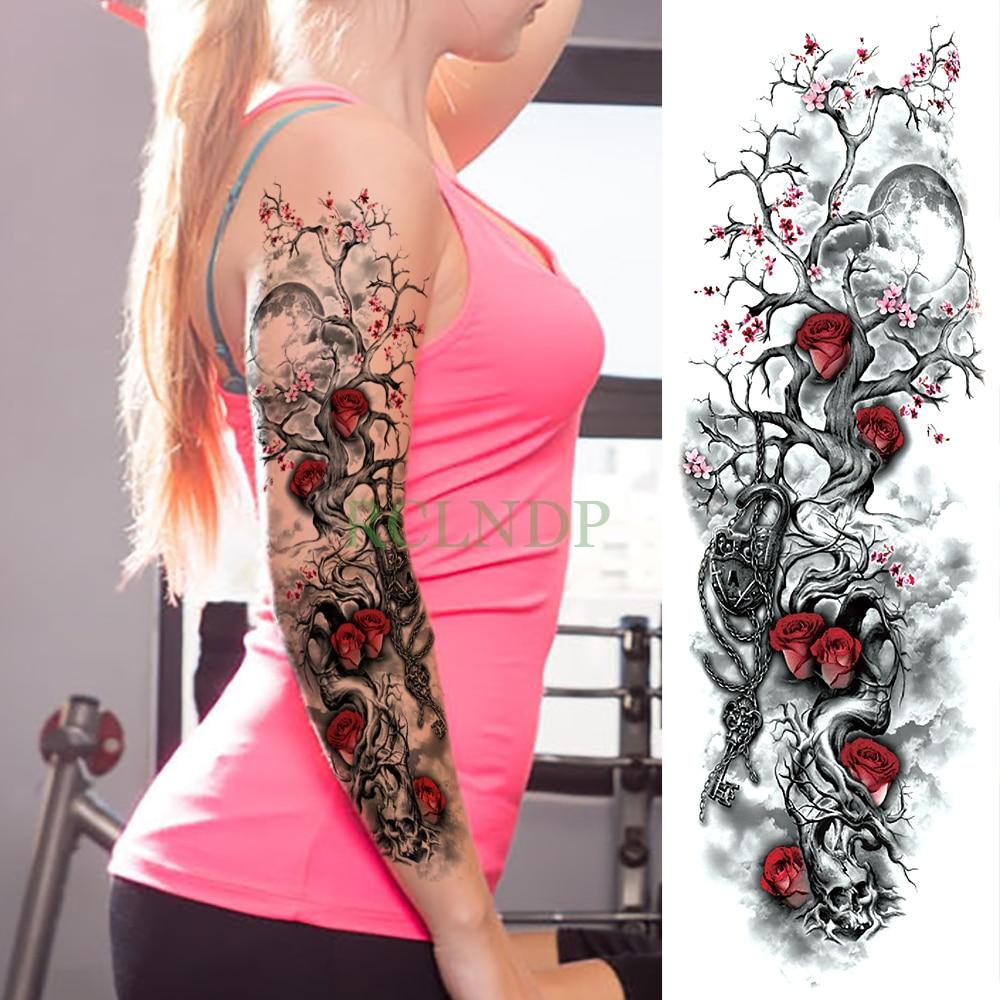 Waterproof Temporary Tattoo Sticker Rose Plum Blossom Full Arm Fake Tatto Flash Tatoo Sleeve Large Size For Men Women Girl Lady