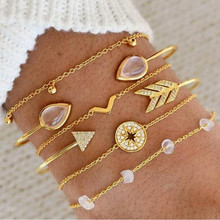 Gold Color Bracelets & Bangles Set for Women Vintage Adjustable Crystal Bracelet 2019 Female Fashion Jewelry 6 Pcs/