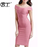 Beateen 2019 Women's Midi Bandage Dress Off Shoulder New Sexy Elegant Knee Length Bodycon Party Dress For Lady New Fashion