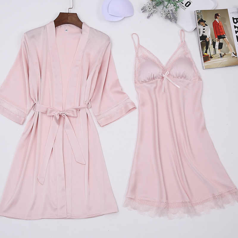 2018 Сексуальный Шелковистый женский халат, комплект с платьем, два пика, кимоно, Халат + Мини Ночное платье, Женское ночное белье, бюстгальтер, свободное белье, розовый, XXL