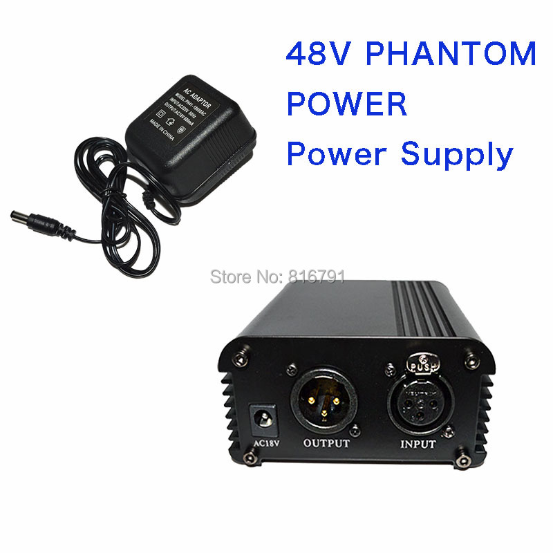 ФОТО Professional 1 Channel 48V AC Phantom Power Supply with Adapter for Any Condenser Microphone
