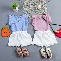 2017 Summer Kids Girls Clothes Set Children Clothes Sleeveless Vest Shorts 2pcs Girl Lady Style Suit