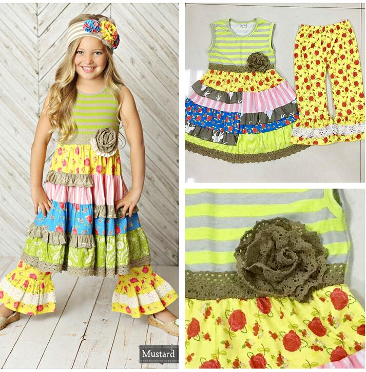 Fashion Summer Children Clothing Sets Princess Boutique Outfits Floral Sleeveless Knitted Cotton Dress Yellow Ruffle Pants купить недорого в Москве