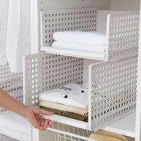Plastic Clothes Storage Drawers Superposed Multistorey Tslide Rail Clapboard Storage Shelf Wardrobe Organizer Kitchen Basket