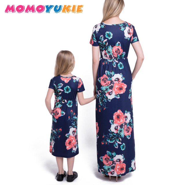 2018 Mommy and me family matching mother daughter dresses clothes striped mom and daughter dress kids parent child outfits look 1