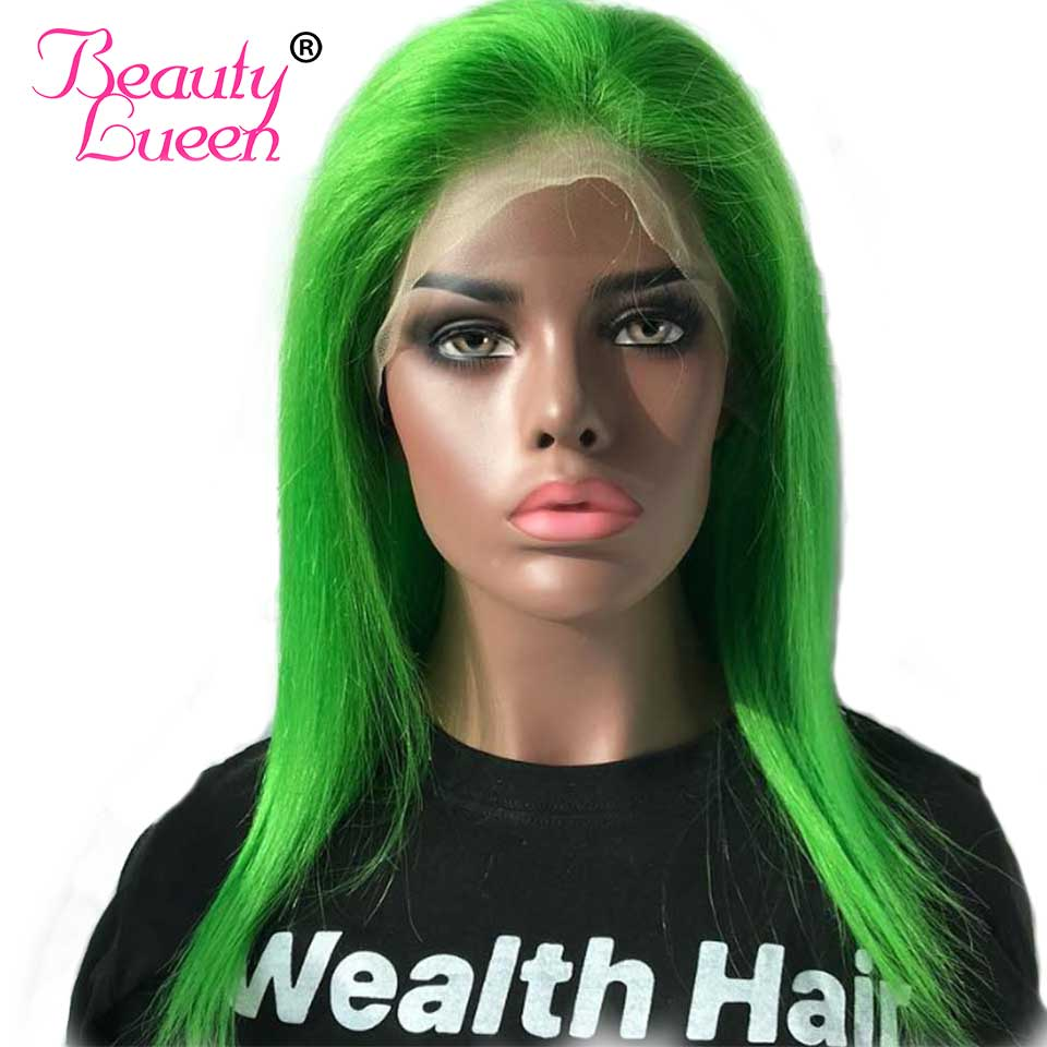 "Green Red Purple 613 Straight Blonde Lace Front Human Hair Wigs 8"" 28""Inches Remy Brazilian Lace Frontal Short Bob Color Wigs"