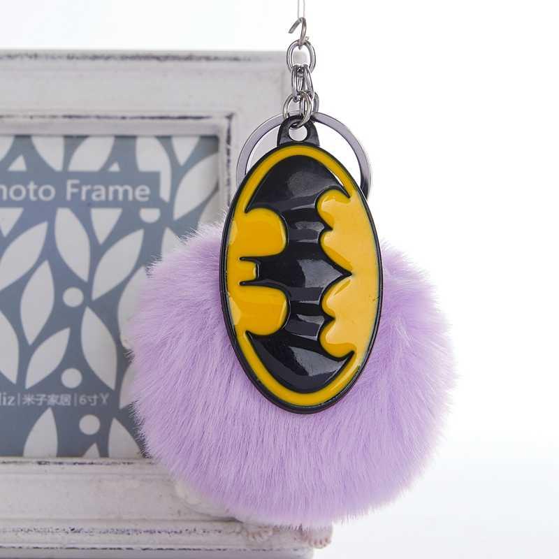 Moda Chaveiro Batman Avengers Chaveiro Jóias Chaveiro Bola de Pêlo Pompom Pom Pom Fofo Saco Carro Chaveiro Para As Mulheres anel chave