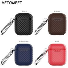 VETOMEET Exquisite texture Bluetooth Wireless Earphone Case For Apple Airpods with Buttons Headphone Case Carbon Fiber Pattern