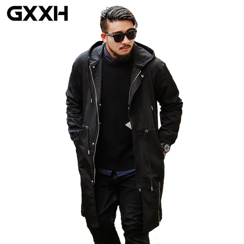 GXXH 2019 Neue Große Größe männer Graben Mantel Marke Kleidung Top Qualität Männlichen Lange Hooded Zipper Schwarz Graben Mantel windjacke-in Jacken aus Herrenbekleidung bei  Gruppe 1