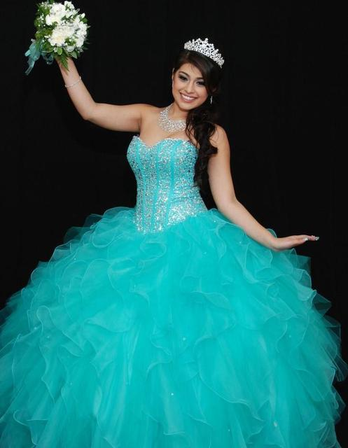 080612118 2015 Fashionable Sweetheeart Ball Gown Quinceanera Dresses Organza Beading  For 15 Years Vestido 15 Anos Debutante