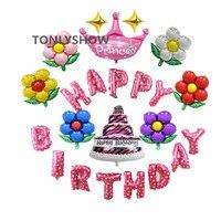 Różowy Niebieski Z Okazji Urodzin Balony Foliowe List Dzieci Urodziny idea Zestaw Księżniczka Dekoracje Baby Shower Party Supplies