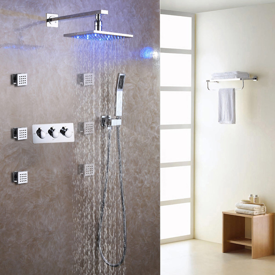 Bathroom Shower Faucet Set Brass Chrome Rainfall LED Shower Head ...