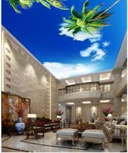 Custom photo wallpaper 3D stereoscopic ceilings Blue sky palm ceiling 3d mural wallpaper(China)