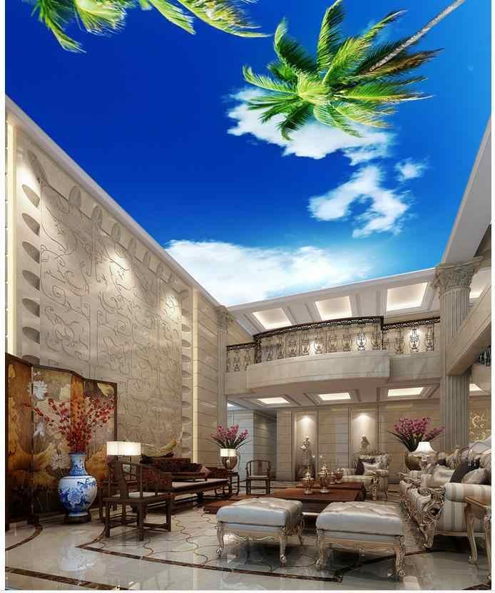Custom photo wallpaper 3D stereoscopic ceilings Blue sky palm ceiling 3d mural wallpaper