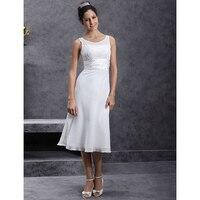 LAN TING BRIDE Sheath Column Scoop Wedding Dress Neck Tea Length Chiffon Bridal Gown with Appliques Sash Ribbon Ruche