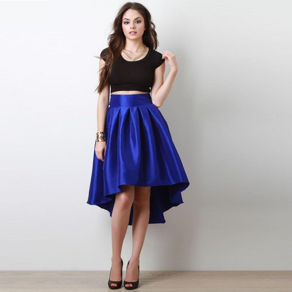 Trendy Royal Blue And Black High Low Taffeta Skirt Mid ...