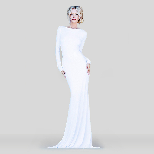495884ec41f5 Classy Fabulous Maxi Dress Low Cut Back Long Sleeve White Red Blue Fushcia  Sexy Bateau Neck Vestidos Prom Dresses Backless