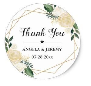 Image 1 - 1.5 インチ現代ゴールドグリーン花結婚式の好意ありがとうクラシックラウンドステッカー
