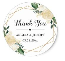 1.5inch Modern Gold Green Floral Wedding Favor Thank You Classic Round Sticker