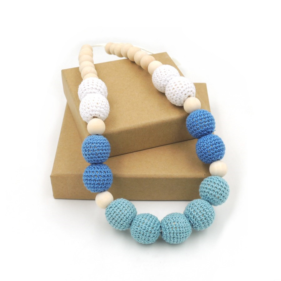 2017 sale New Chunky crochet necklace wooden beads necklace , Mint Blue special color baby teething nursing necklace NWr1409