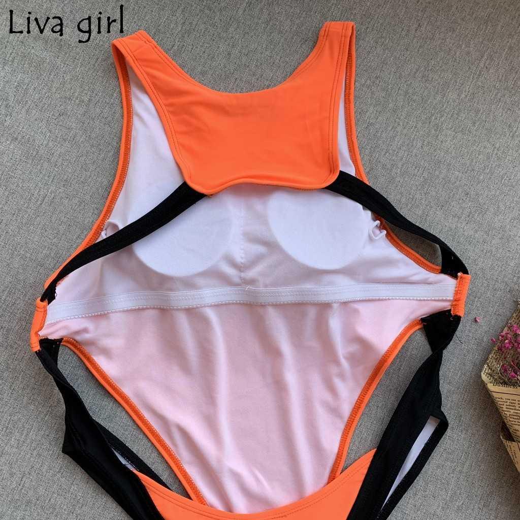 Liva 女の子ワンピーススーツオレンジ固体 2019 プッシュアップパッド入りブラジル水着ホットセットビーチモノキニ水着水着ビキニ
