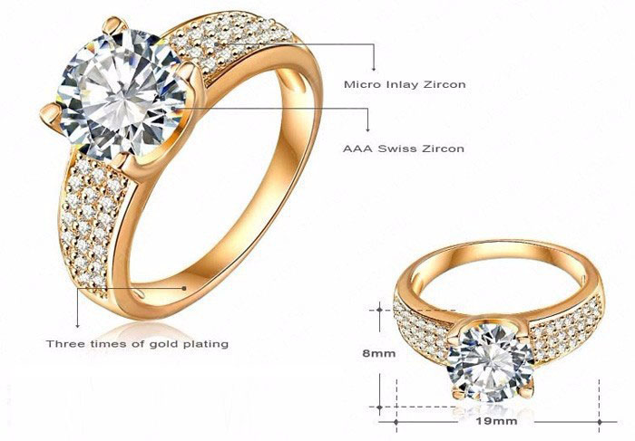 Fashion 24K Gold Filled Wedding Rings For Women Engagement Jewelry Vintage Ring Zirconia Accessories BKJZ018