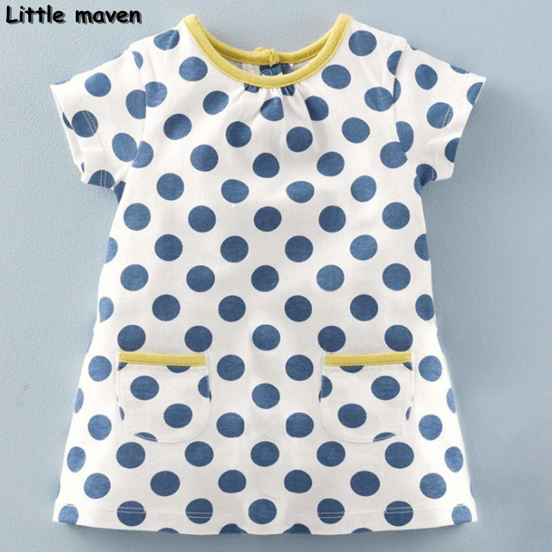 Little maven children clothing 2017 new summer baby girls brand clothes kids Cotton dot pocket dress S0135