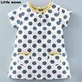 Little maven das crianças roupas de verão 2017 nova roupa dos miúdos do algodão da marca meninas do bebê dot bolso vestido s0135