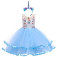 2pcs Set kid Girl clothes Flower Unicorn Costume Cosplay Fancy Dress Up Tulle Dress Headband Kid Children Birthday Party Outfit