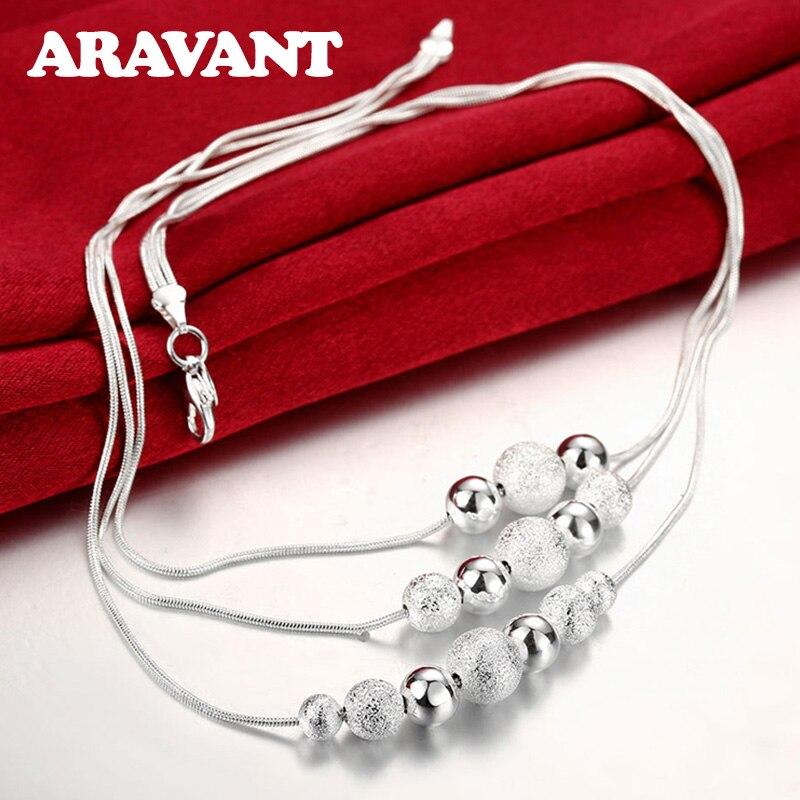 Argent 925 colliers bijoux mode couches sable perle collier pour les femmes de mariage bijoux cadeaux