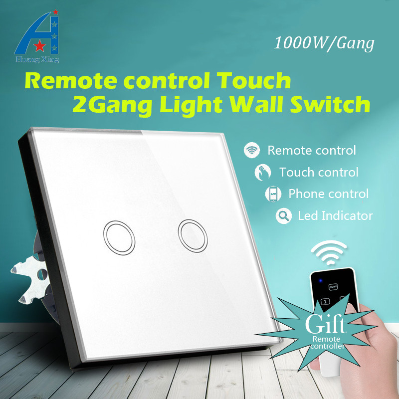 New 1000W high quality light switch EU Standard 2 Gang 1 way radio Remote Control wall switch, Glass panel Touch Switch 110-240V 2017 smart home crystal glass panel wall switch wireless remote light switch us 1 gang wall light touch switch with controller