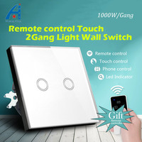 HUANGXING EU Standard 2Gang1Way Wireless Remote Control Wall Switch Tempered Glass Panel Touch Switch 1000W 220V