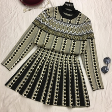Amolapha Women Vintage Sweater Skirts Sets Geometric Printed Female Knitting Clothing