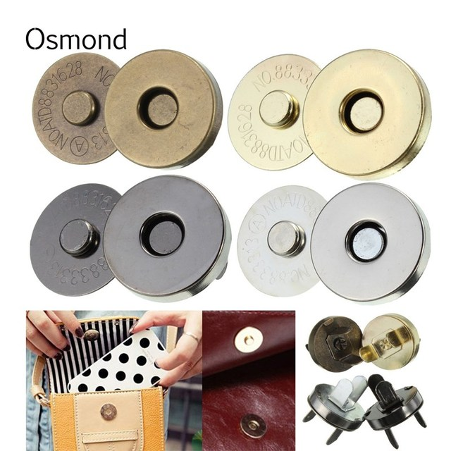 Osmond 5pc lot Magnetic Snap Fasteners Clasps Buttons Handbag Purse Wallet Bags Parts Accessories 18mm Replacement Accessories