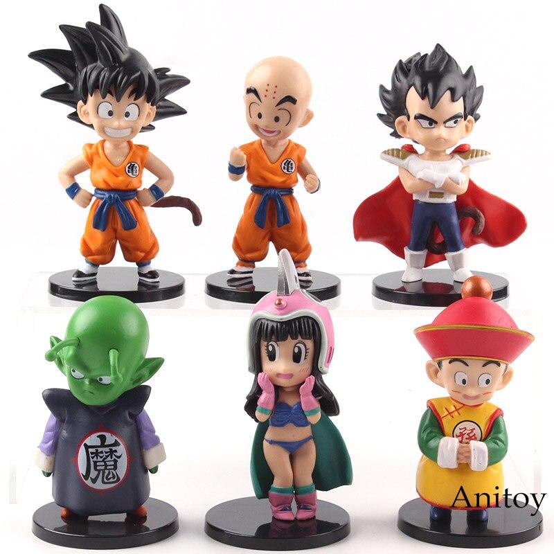 Anime Dragon Ball Dragon Children Son Goku Gohan ChiChi Piccolo Vegeta Krillin PVC Dragonball Action Figures Toys 6pcs/set