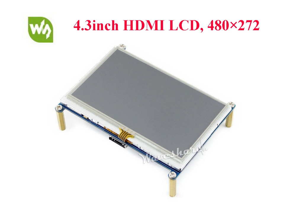 Waveshare 4.3inch HDMI LCD Module 480 * 272 Resistive Touch Screen with Back light Control for any revision of Raspberry Pi