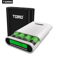 トモM4 4 × 18650 リチウムイオンusbインテリジェントバッテリー充電器ポータブル液晶携帯電話の電源銀行ケースバッテリーデュアル出力スマート充電