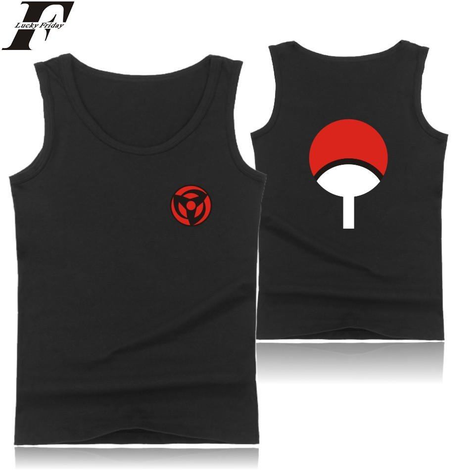 LUCKYFRIDAYF Cartoon Sleeveless Summer   Tank     Top   Men Casual Uchiha Syaringan Bodybuilding   Tank     Top   Classic Naruto Anime Vest