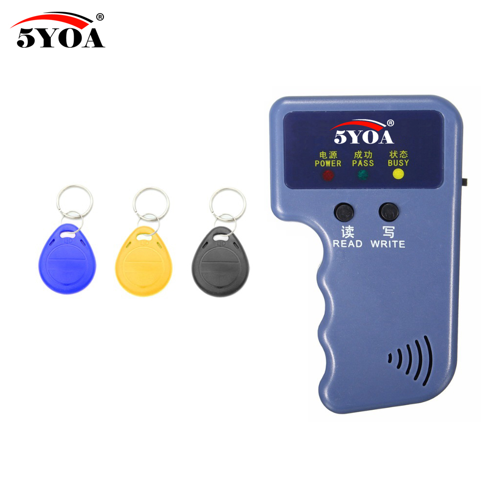 5YOA Handheld 125KHz EM4100 RFID Copier Writer Duplicator Programmer Reader + 3Pcs EM4305 T5577 Rewritable ID Keyfobs Tags Card handheld 125khz em4100 rfid copier writer duplicator programmer reader 5pcs t5577 em4305 rewritable id keyfobs tags card