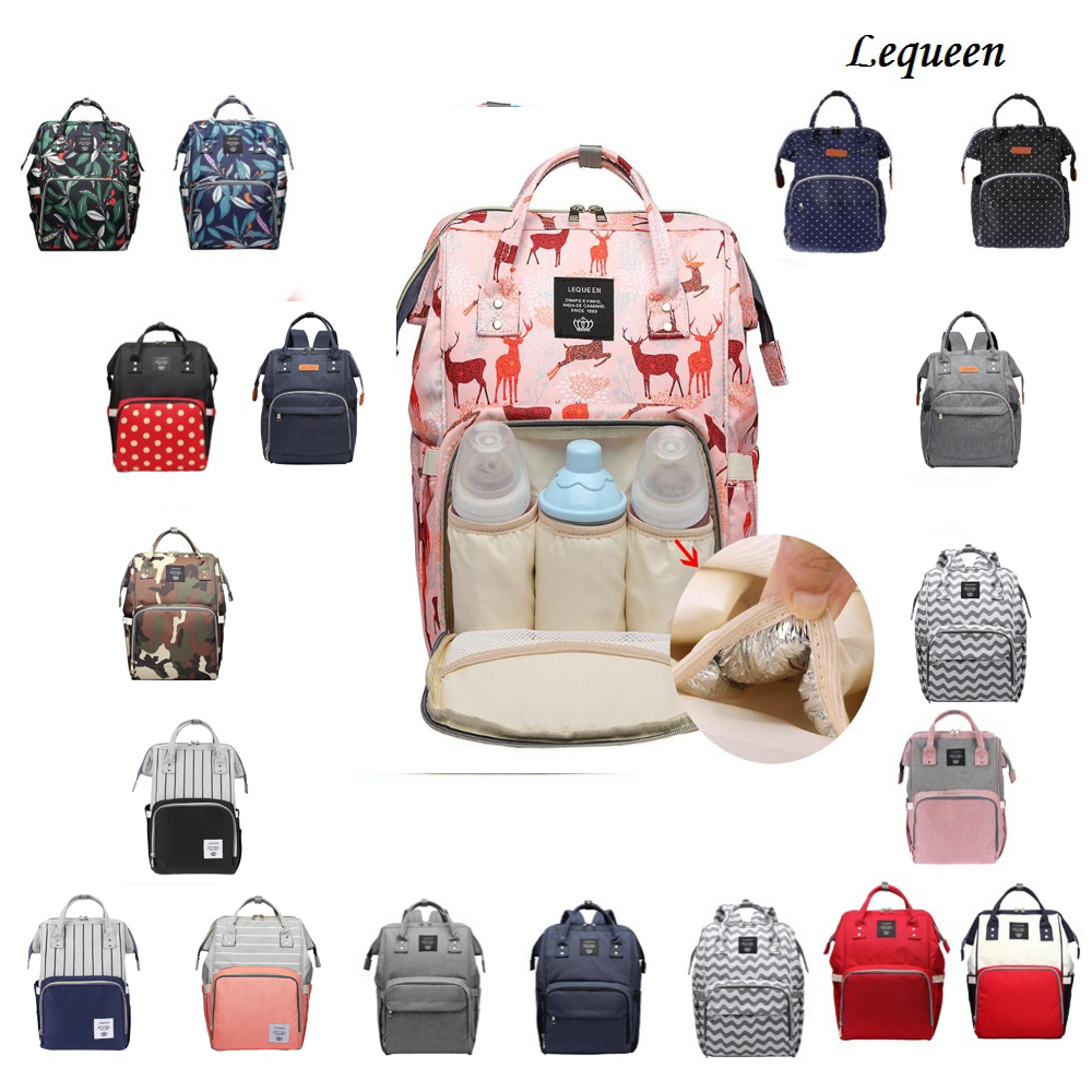Image 5 - Lequeen сумка для кормящих мам, подгузник для мам, брендовая Большая вместительная детская сумка, рюкзак для путешествий, дизайнерская сумка для кормящих мам для ухода за ребенком