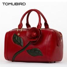 TOMUBIRD superior cowhide leather Designer Inspired Dimensional Flower Ladies Handmade Leather Tote Satchel Handbags Boston