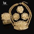 Alta Calidad Grande Folwer Colgante Collar Anillo Pendiente de la Pulsera de La Manera Sistemas de la Joyería de Dubai Joyas de Oro Para Las Mujeres Del Banquete de Boda