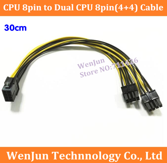 10PCS LOT CPU 8Pin Female to Dual 8pin 4 4 Male Cable Adapter 30cm CPU 8