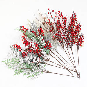 Fruit Branches Pine-Cone Fake-Flower Christmas-Berry Artificial for Red